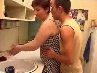 Teen Guy Offers His Young Dick To Horny Mature Friends Mom in Kitchen