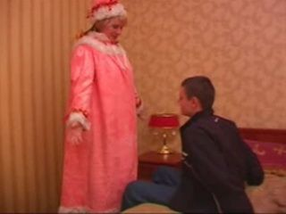 Russian Santa Claus Granny is Fucked by a Young Guy
