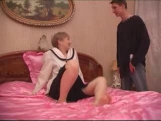 Teen Student Fucked Mature Short Hair Mom in Pink Room Second Time