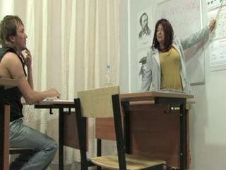 Russian Mature Teacher Abuse her Student
