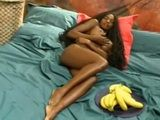 Busty Ebony Beauty Uses Banana in a Very Hot Way
