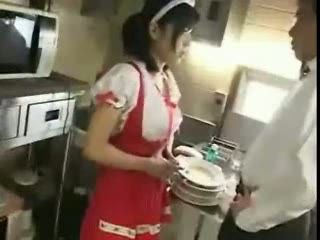 Japanese Waitress Abused By Chef Cook