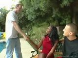 Hot Ebony MILF Double Teamed by two White Boys