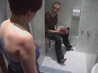 Mature Woman Catches Boy Jerking On Toilet then Fucks Him