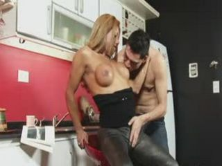 Stud bends over for a helping of shemale cock