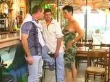 Sexy Barmaid Fucks Guest In Restaurant Kitchen