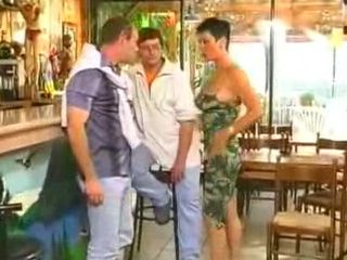 Sexy Barmaid Fucks Guest In Restaurant Kitchen