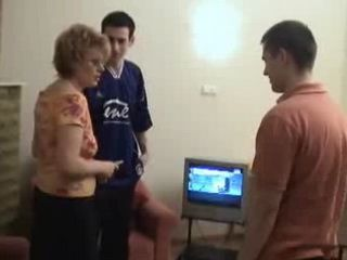 Russian mom is fucked by son and his friend