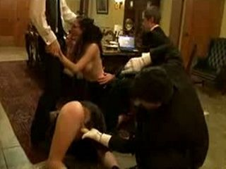 Two brunette babes gives blowjobs in group