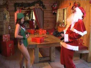 Teen Santa Helper Girl Gets Anal Fucked By Old Santa Claus At His Hut