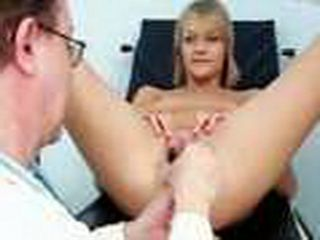 Blonde Faye visits old kinky gyno doctor who is gaping her pussy