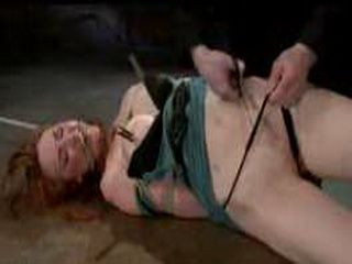 Hogtied with ropes Kendra James toyed on the floor