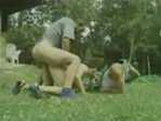 Granny Fucked By Two Guys In The Backyard