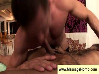 Hairy guy fucked on massage table