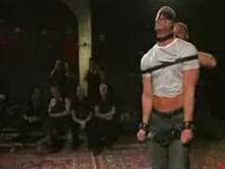Blindfolded bound gay blowjob in gay club