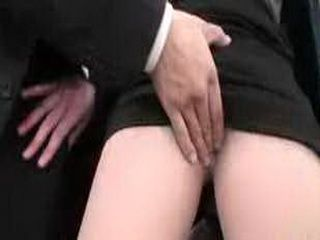 Japanese Business Woman Doing A Quick Blowjob To Her Boss For Better Salary