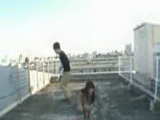 Japanese Girl At The Top Of The Building Fucked By Pervert Boy