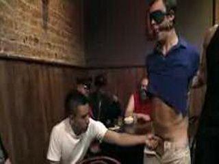 Bound and gagged gay blowjob in gay club