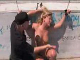 Bound to monument blonde babe gets gets face fucked