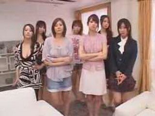 Lucky Japanese Guy Enjoys While Dozen Horny Japanese Girls Playing With His Cock