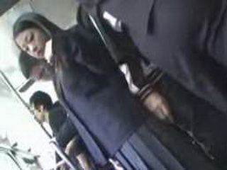 Suddenly Pervert Guy Grabs Japanese Schoolgirl In The Public Train And Crusifies Her