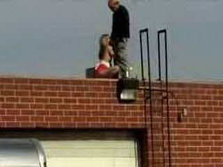 Crazy Guy Fucks A Girl On The Roof Of The Building