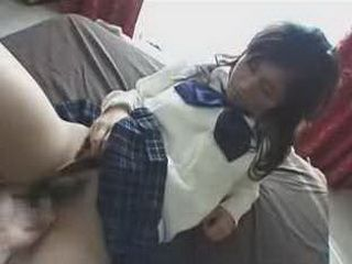 Touching Japanese Schoolgir's Hairy Pussy