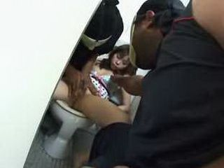 2 blacks grope and molest Girl on a toilet