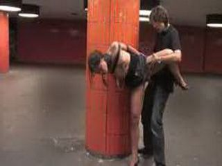 Bound babe pounded and facialized in subway station