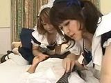 Two Uniformed Japanese Maids Sucking To A Boss Till He Cumes