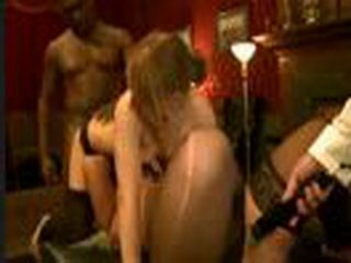 Two babes in stockings group fucked and vibrated