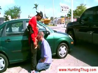 Interracial gay blowjobs in public