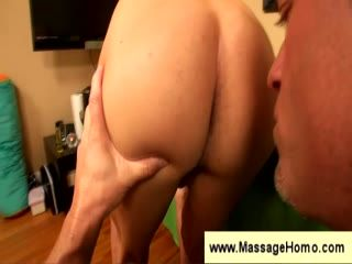 Guy plays with his penis before massage