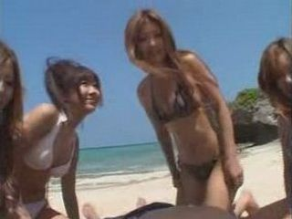 The Luckiest Guy On The World Got Jerked Off By Many Japanese Horny Girls On The Public Beach