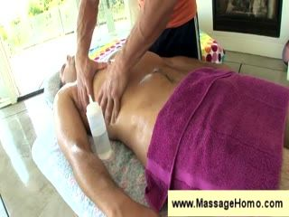 Massaging his dick with oil