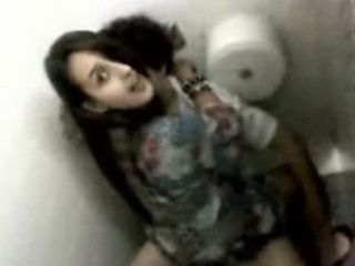 Teen Rides Her BF On A Public Toilet