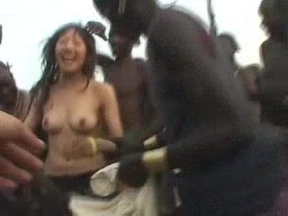 Asian tourist fucks african native tribe