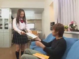 Japanese Schoolgirl Came To Friends House To Prepare Exam