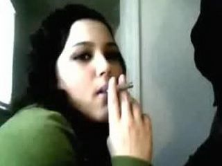 Smoking girlfriend sucsk a black cock and gets mouthful