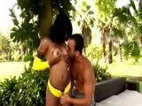 Black girl gives a blowjob outdoors