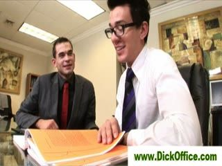 Gay sucks coworker in office