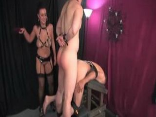 Forced bi-sex by gorgeous Mistress using two males for Her amusement