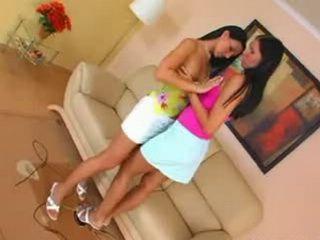 Brunette beauty lesbians lick
