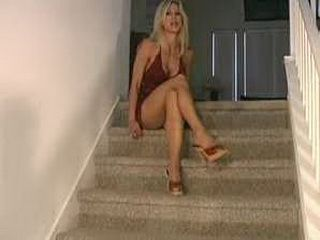 Blonde bossy femdom in pantyhose commands you to jerk-off you can't refuse