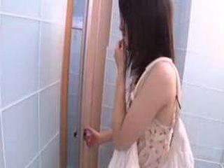 Japanses girl gagging on dick in toilet