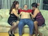 Grandpa Gets His Cock Sucked Off By Two Mature Cuckolds