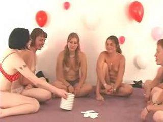 Teen girls strip naked in sexgame