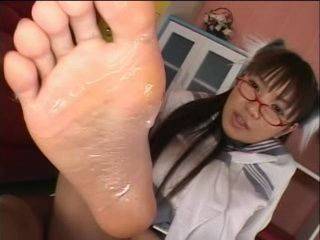 Sexy Schoolgirl Gives Footjob Until Guy Cums On Her Feet