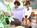 Pervert Japanese Daddy Jerks on Student Uniform Girl