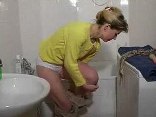 Mom in white undies stripping in bathroom xLx